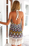 Sexy Printed Sleeveless Backless Dress