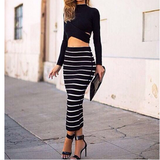 Sexy Long-Sleeved Striped Two-Piece Dress