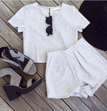 Fashion Sexy Short Sleeve Gray Two-Piece Dress