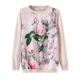 Loose  Round neck Printed knit sweater