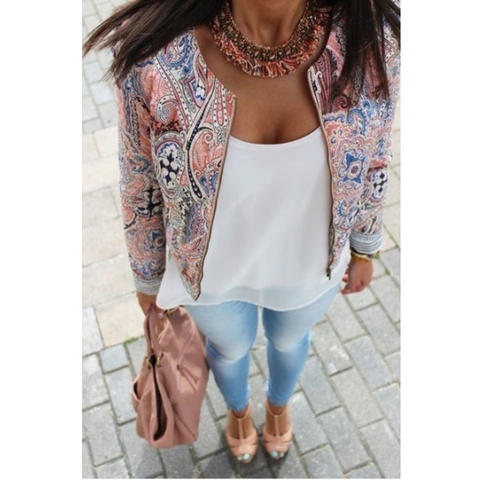 Fashion Zipper Round Neck Short Sleeve Printing Coat