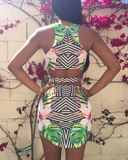 Sexy Printed Sleeveless Vest Halter Dress