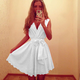 Leisure V-Neck Sleeveless Chiffon Mini Dress