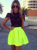 Fluorescent Green Half-Length Skirt