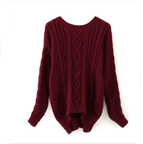Wine Red Round Neck Cable Knit Sweater