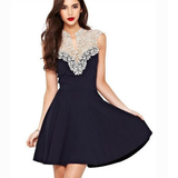 Retro lace sleeveless V-neck vest dress