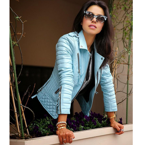 Design long-sleeved blue zipper jacket