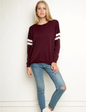 Loose striped long-sleeved knit sweater