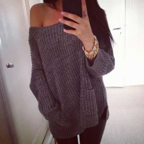 Casual long-sleeved knit sweater