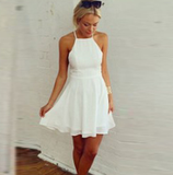 Fashion White Chiffon Sleeveless Dress