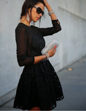 Black Lace Flowers Embroidered Dress