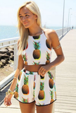 SEXY PINEAPPLE PRINTING TWO-PIECE SUIT