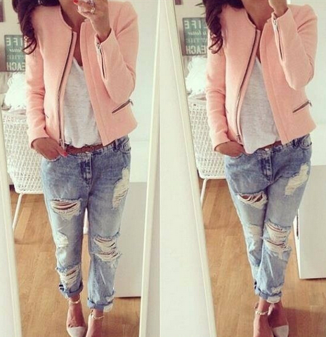 Casual long-sleeved zipper jacket
