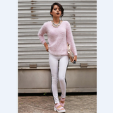 Fashion round collar pink sweater