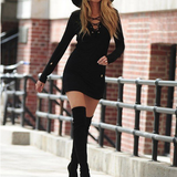 Sexy V-neck long-sleeved package hip dress