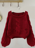 Design round neck long-sleeved sweater
