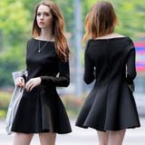 Slim long-sleeved black dress