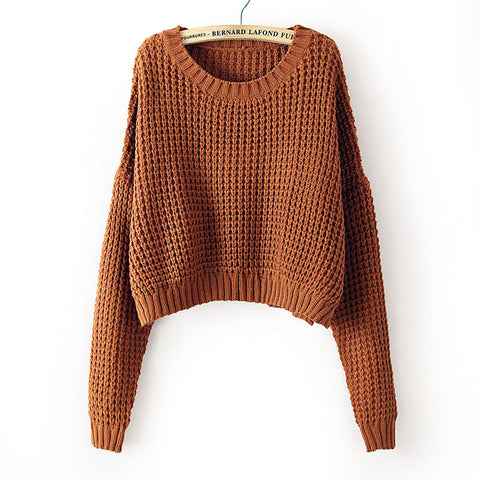 Coffee Long Sleeve Corn Kernels Crop Sweater