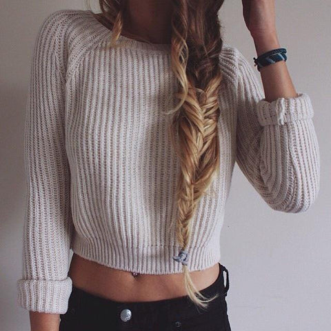 Retro round neck long-sleeved sweater