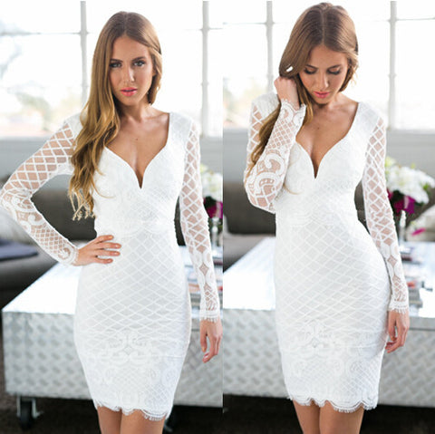 Sexy package hip long-sleeved embroidered lace dress