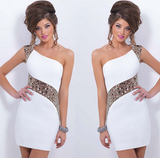 Shoulder beaded One shoulder sexy dress