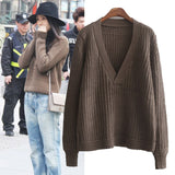 Design V-Neck Long-Sleeved Knit Sweater