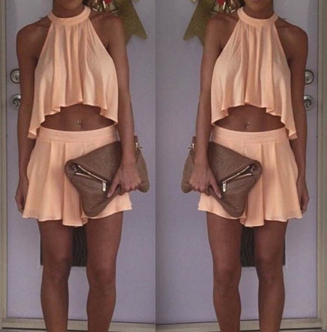 Round neck sleeveless two-piece dress