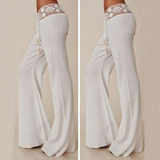 Slim white lace long pants