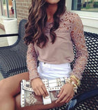 Sweet Embroidery Stitching Chiffon Shirt