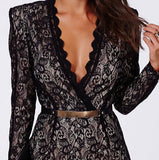 Sexy V-Neck Long-Sleeved Lace Dress