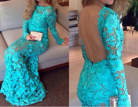 Gorgeous Backless Long Lace Dress