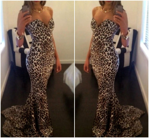 Leopard Print Off Shoulder Floor Length Mermaid Dress