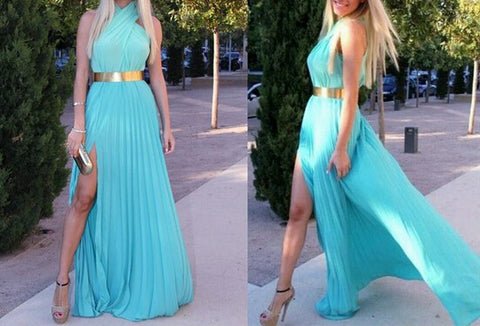 Beautiful Sleeveless Halter Mid Waist Goddess Dress