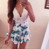 Cute Floral Hot Lace Jumpsuit Romper Shorts