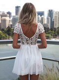 Fashion Backless Embroidery Hook Flower Bud Silk Joining Together The Dress--White