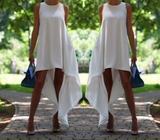 Fashion O-Neck White Dress