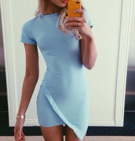 FRESH BLUE CUTE HOT DRESS