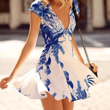 Sexy Deep V-Neck High Waist Slim Fit Floral Print Dress