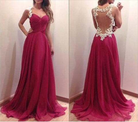 CHARMING BURGUNDY SWEETHEART FLOOR LENGTH PROM DRESS 2016