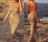 Sexy Backless Mermaid Dress In Khaki