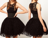 Sleeveless Black Ball Gown Lace Dress