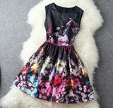 Vintage Baroque Floral Print Gathered Waist Tunic Tank Skater Dress