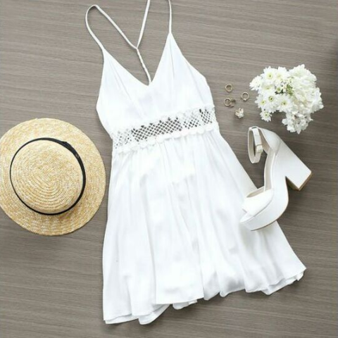 Fashion White Printed Lace Dress