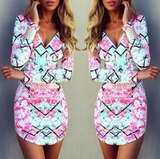 Slim V-Neck Long-Sleeved Printed Dress
