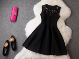 Round Neck Sleeveless Sequined Mini-Dress