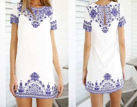 Retro Round Neck Short Sleeve Printed Dress