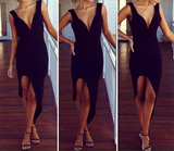Sexy Sling V-Neck Black Dress
