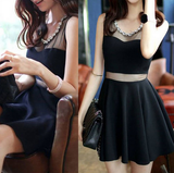 Slim Round Neck Black Sleeveless Dress