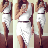 Cheap Sexy V Neck Tank Sleeveless Asymmetrical White Faux Two-Piece Sheath Knee Length Dress