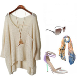 Loose Bat Sleeve Round Neck Knit Sweater